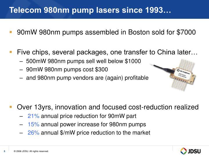 Telecom 980nm pump lasers since 1993…