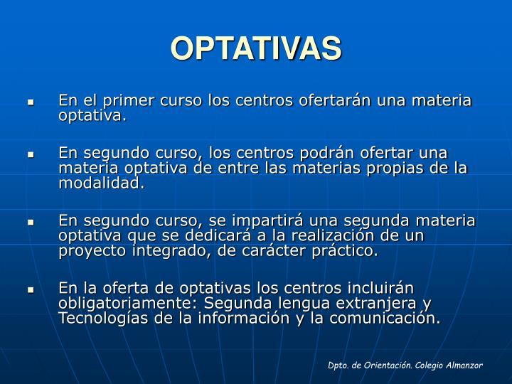 OPTATIVAS