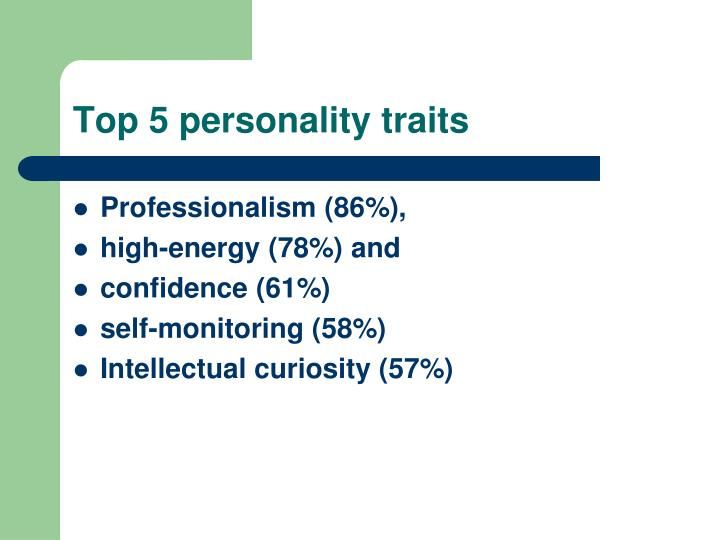 Top 5 personality traits