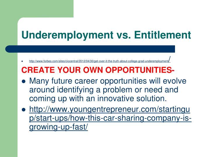 Underemployment vs. Entitlement