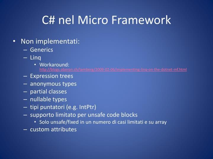 C# nel Micro Framework