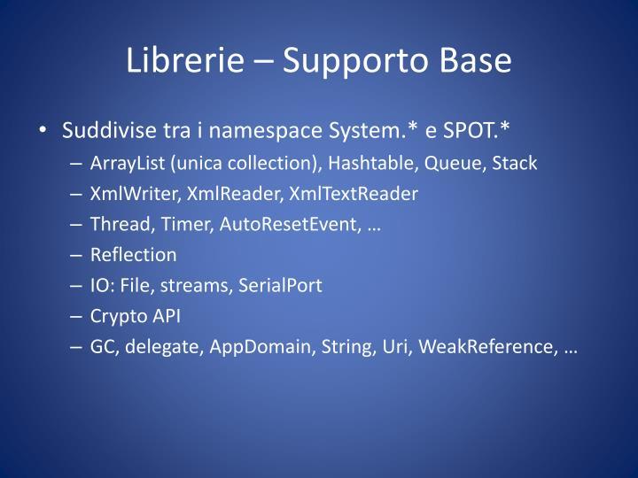 Librerie – Supporto Base