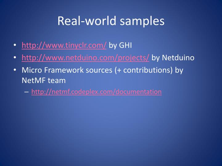 Real-world samples