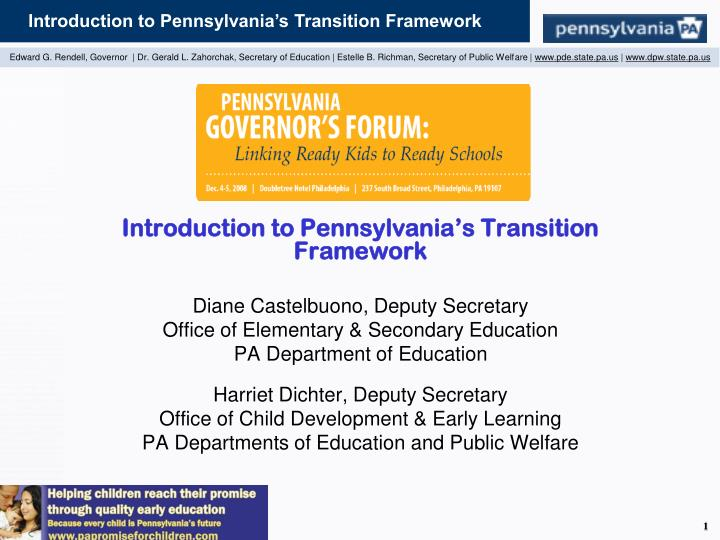 Introduction to Pennsylvania's Transition Framework