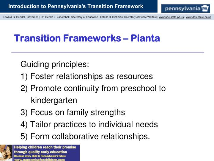 Transition Frameworks – Pianta