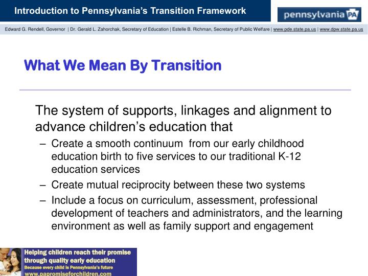 What We Mean By Transition