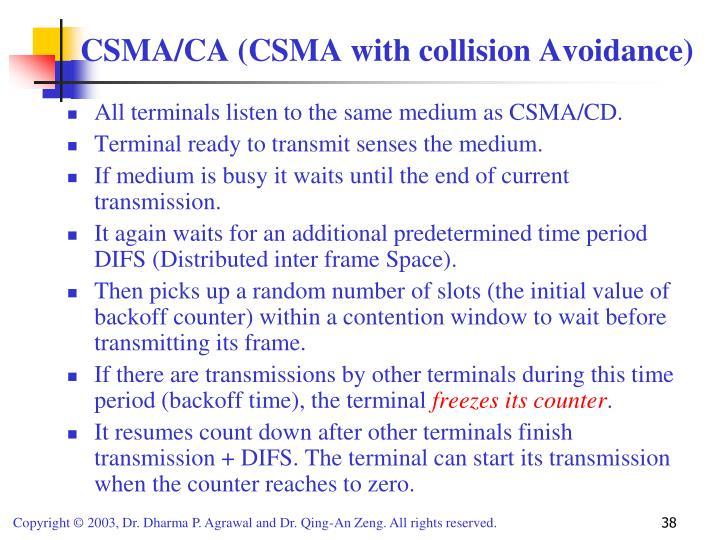 All terminals listen to the same medium as CSMA/CD.