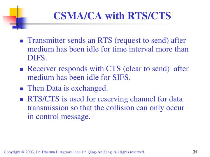 Transmitter sends an RTS (request to send) after medium has been idle for time interval more than DIFS.
