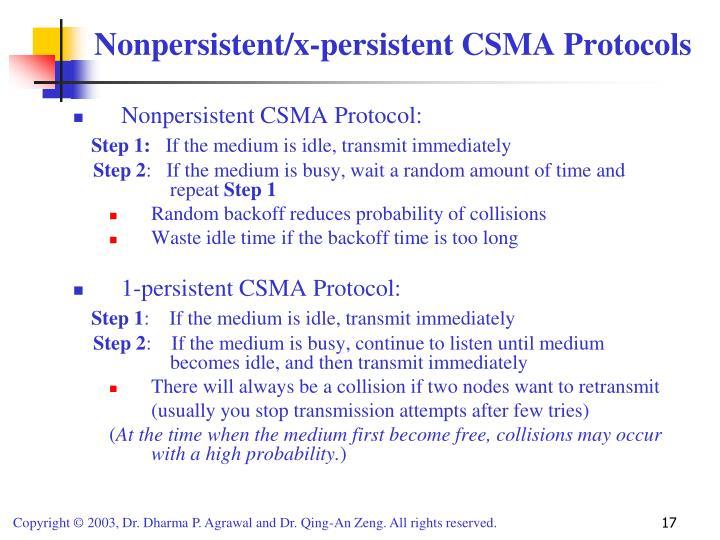 Nonpersistent CSMA Protocol: