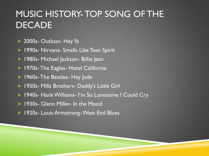 Music History- Top Song of the Decade