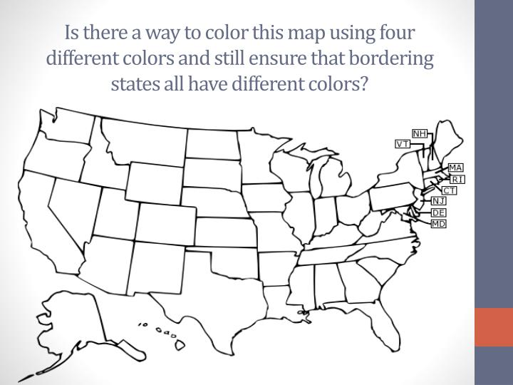 Is there a way to color this map using four different colors and still ensure that bordering states all have different colors?