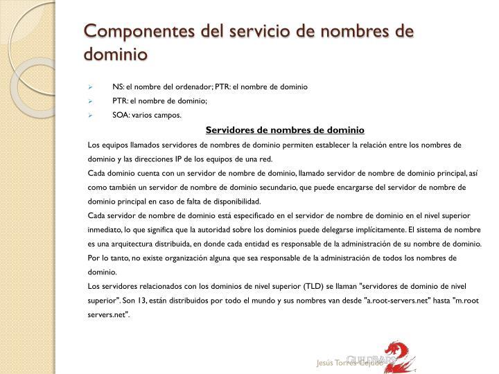 Componentes del servicio de nombres de dominio