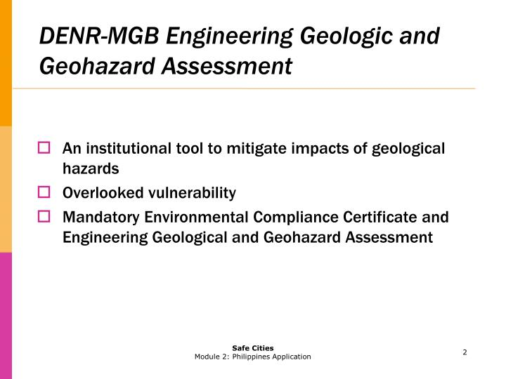 DENR-MGB Engineering Geologic and Geohazard Assessment