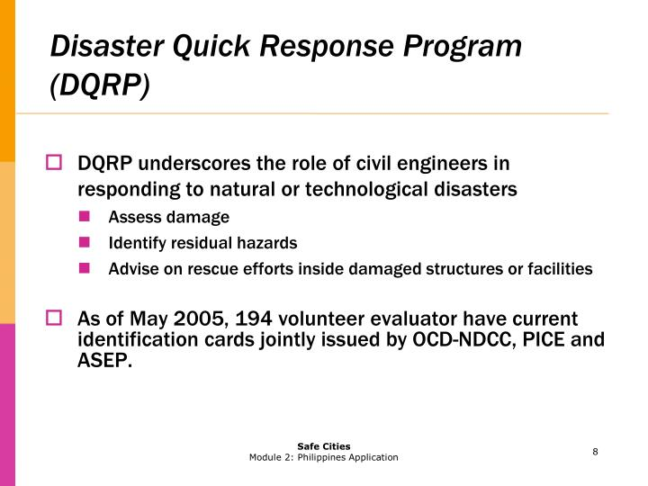 Disaster Quick Response Program (DQRP)