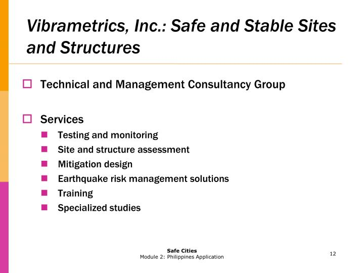 Vibrametrics, Inc.: Safe and Stable Sites and Structures
