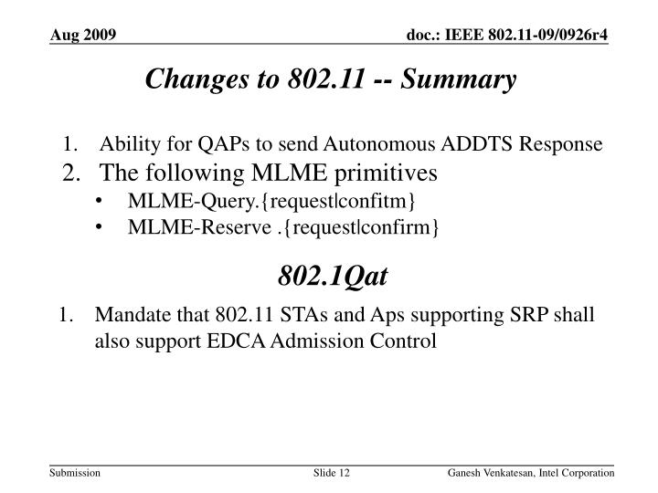 Changes to 802.11 -- Summary