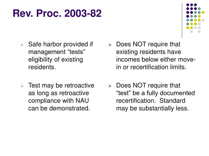"Safe harbor provided if management ""tests"" eligibility of existing residents."