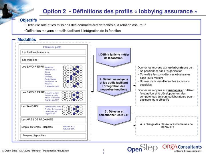 Option 2  - Définitions des profils «lobbying assurance»