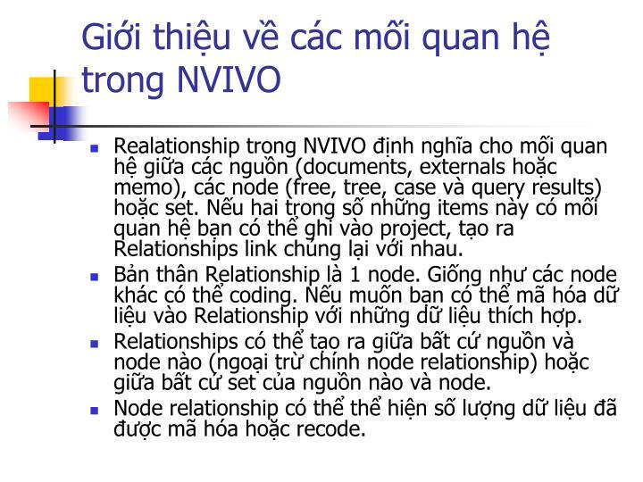 Giới thiệu về các mối quan hệ trong NVIVO