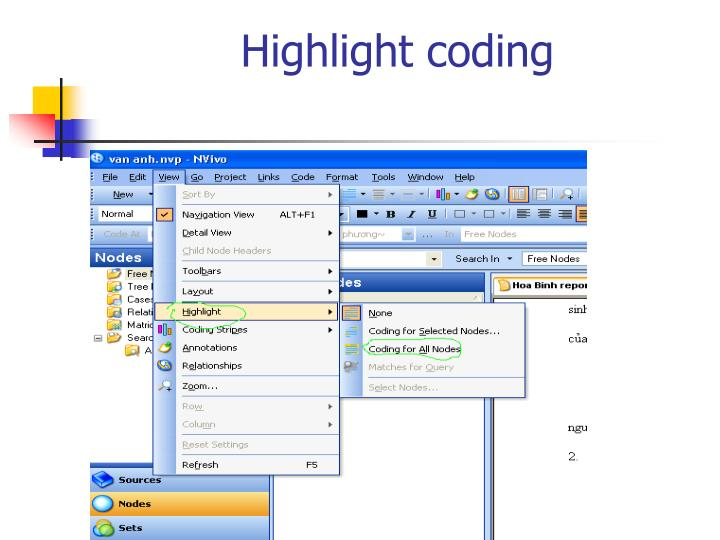 Highlight coding