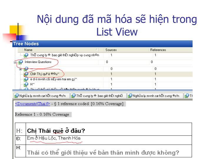 Nội dung đã mã hóa sẽ hiện trong List View