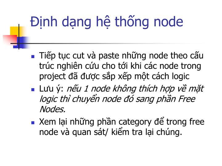 Định dạng hệ thống node