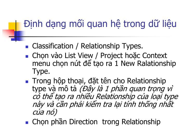Định dạng mối quan hệ trong dữ liệu