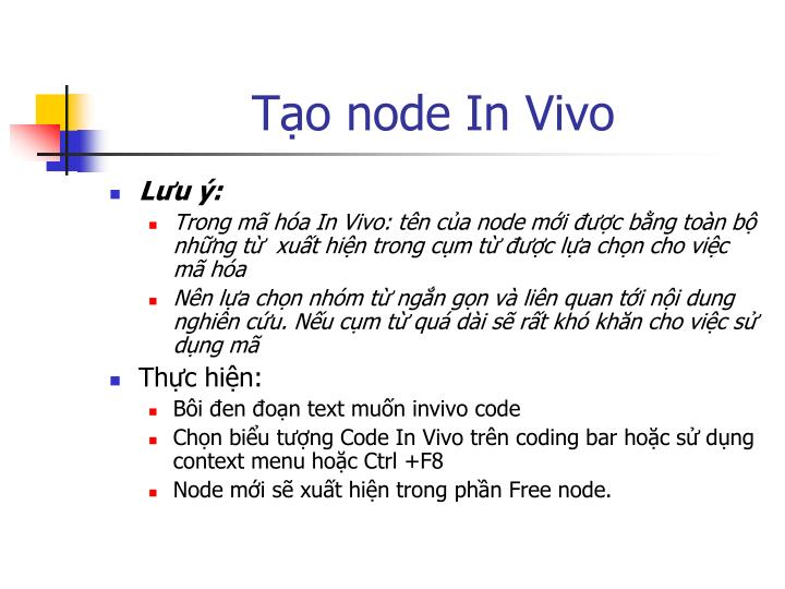 Tạo node In Vivo