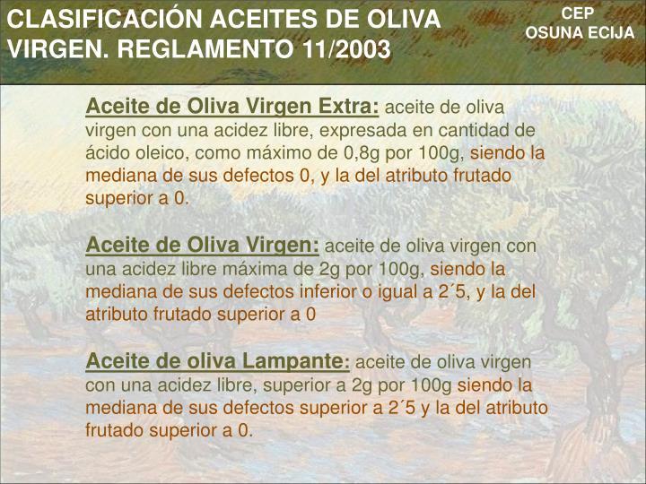 CLASIFICACIÓN ACEITES DE OLIVA VIRGEN. REGLAMENTO 11/2003