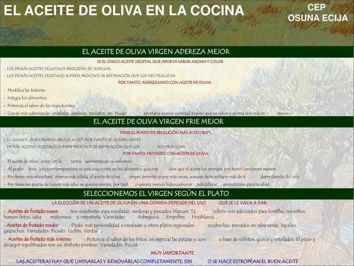 EL ACEITE DE OLIVA EN LA COCINA