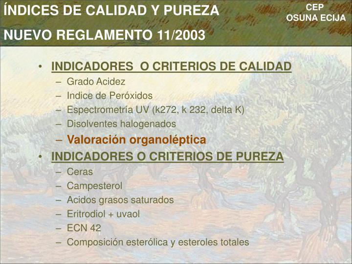 ÍNDICES DE CALIDAD Y PUREZA