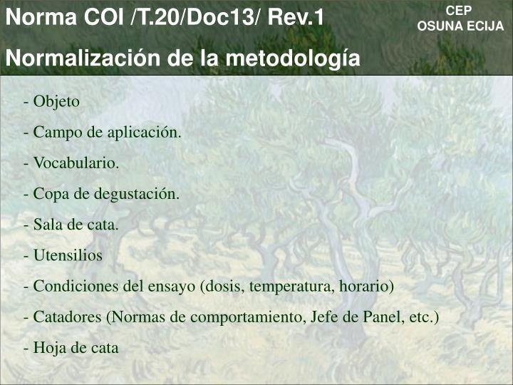 Norma COI /T.20/Doc13/ Rev.1
