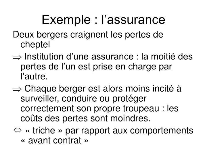 Exemple : l'assurance