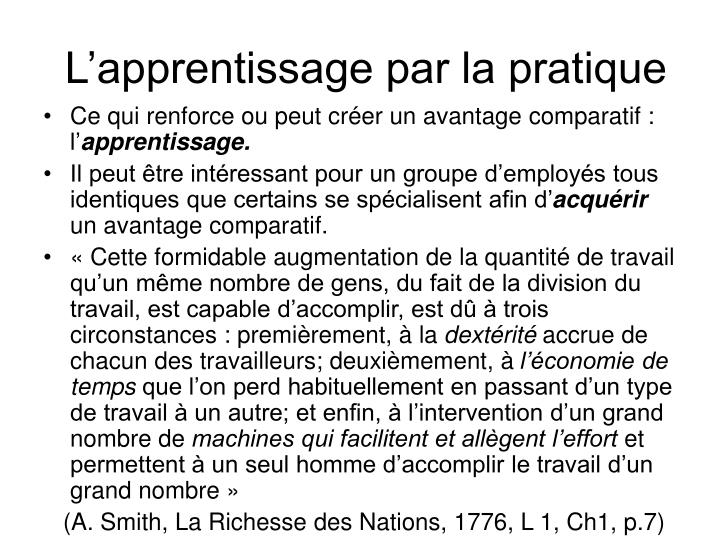 L'apprentissage par la pratique