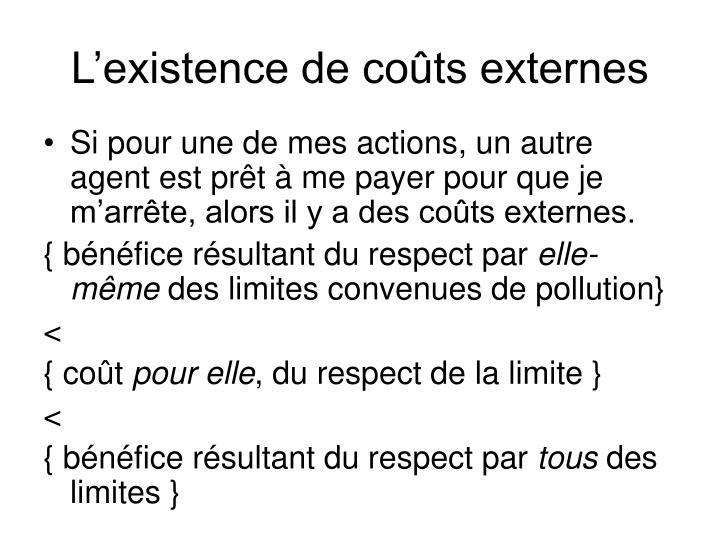L'existence de coûts externes