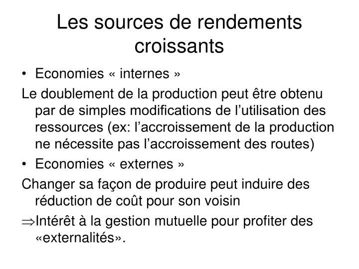 Les sources de rendements croissants