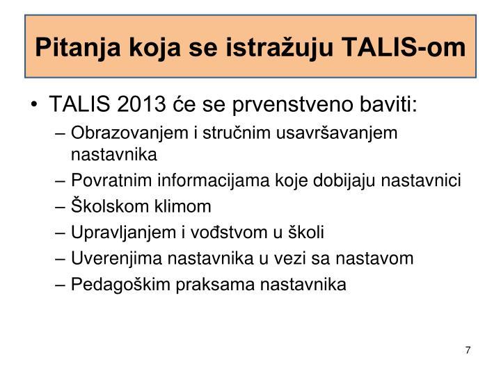 Pitanja koja se istražuju TALIS-om