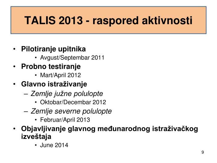 TALIS 2013 - raspored aktivnosti