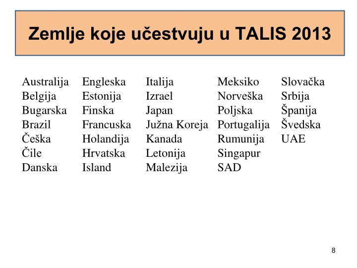 Zemlje koje učestvuju u TALIS 2013