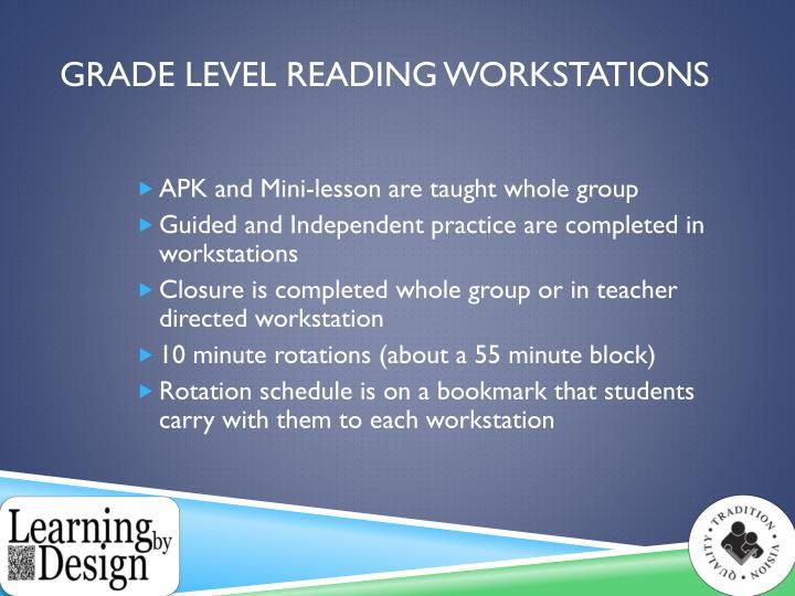 Grade Level Reading Workstations