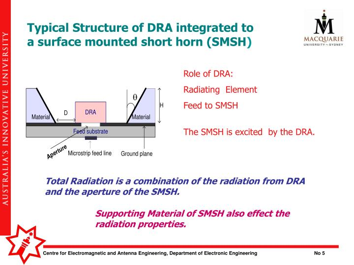 Typical Structure of DRA integrated to a surface mounted short horn (SMSH
