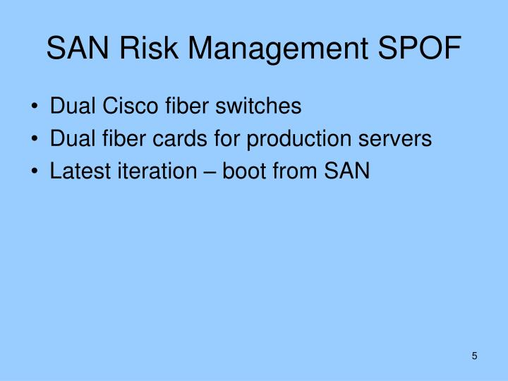SAN Risk Management SPOF