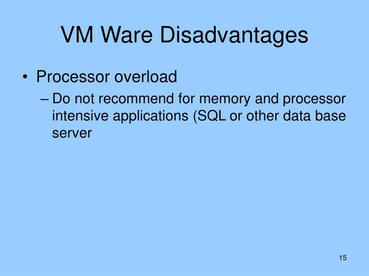 VM Ware Disadvantages
