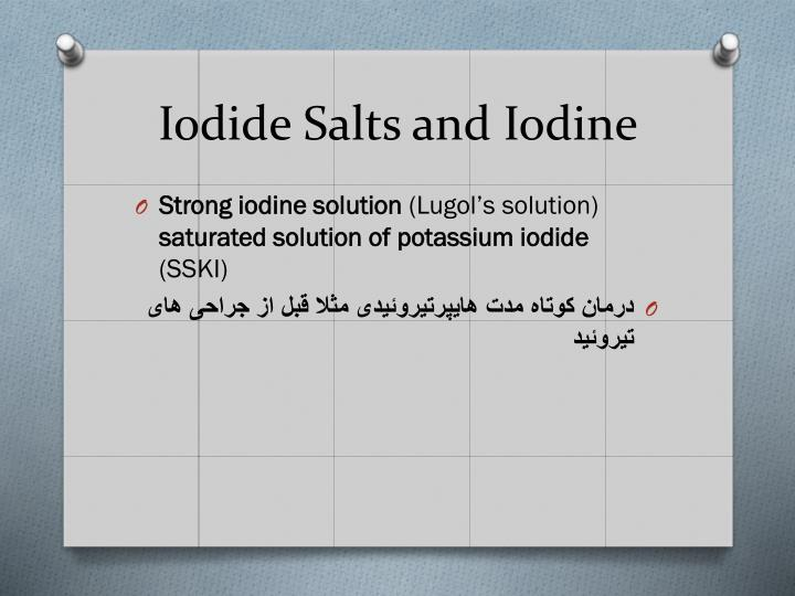 Iodide Salts and Iodine