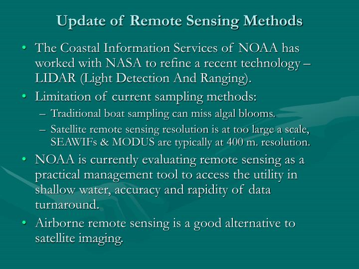 Update of Remote Sensing Methods