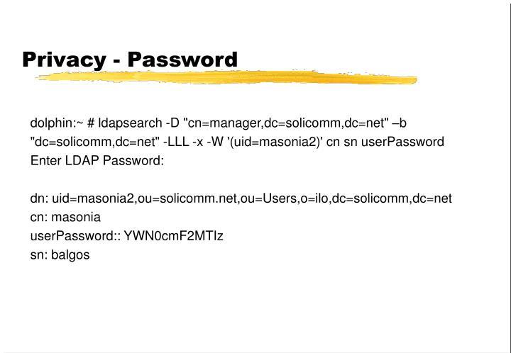 Privacy - Password