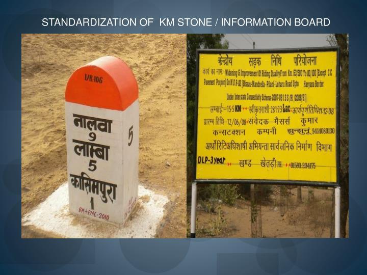 STANDARDIZATION OF  KM STONE / INFORMATION BOARD