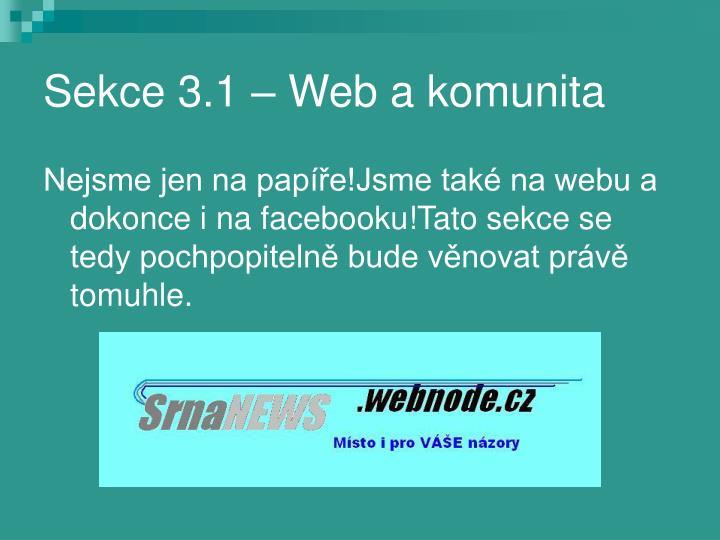 Sekce 3.1 – Web a komunita