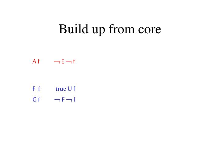 Build up from core