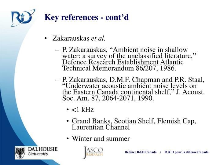 Key references - cont'd